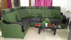 l shaped sofa set - green
